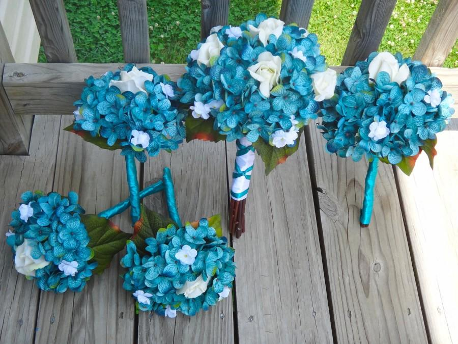 Wedding - Hydrangea bridal bouquet set, teal hydrangea and white flower accent, Customize to match your wedding colors