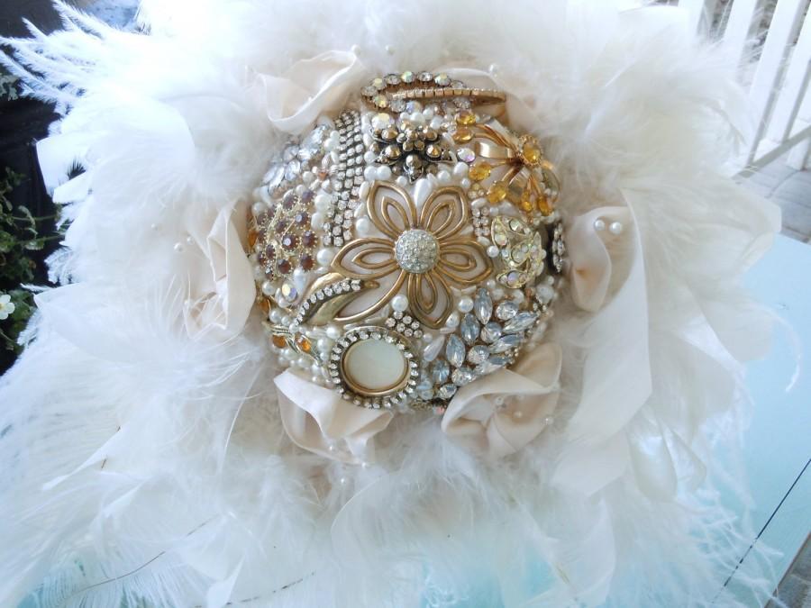Wedding - Broach Bouquet - Brooch Bouquet - Bridal Brooch Bouquet - Wedding Brooch Bouquet - Feathered Brooch Bouquet
