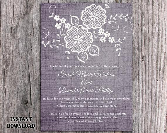 Mariage - DIY Lace Wedding Invitation Template Editable Word File Download Printable Rustic Wedding Invitation Vintage Floral Blue Invitation