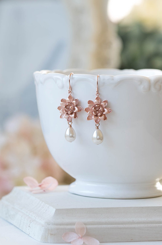 Rose Gold Earrings Pink Gold Lotus Flower Cream Teardrop Pearl