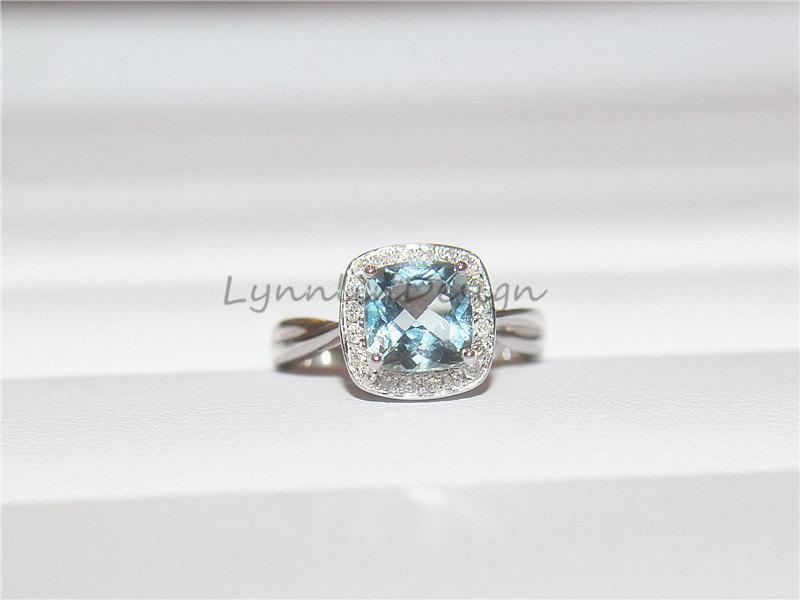 Mariage - 14K White Gold Ring 7MM Cushion Aquamarine Engagement Ring Halo Diamond Aquamarine Wedding Ring Bridal Diamonds March Birthstone Ring