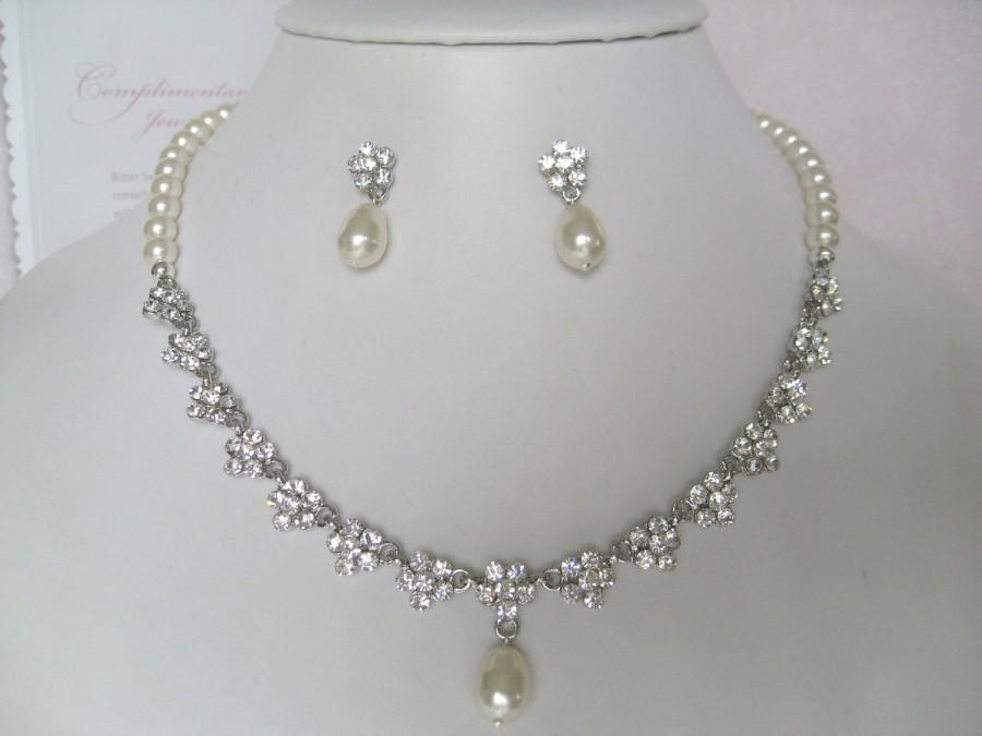 Mariage - Bridal Jewelry - Bride Necklace - Bridesmaid Necklace - Rhinestone and Pearl Floral Bridal Jewely Set II