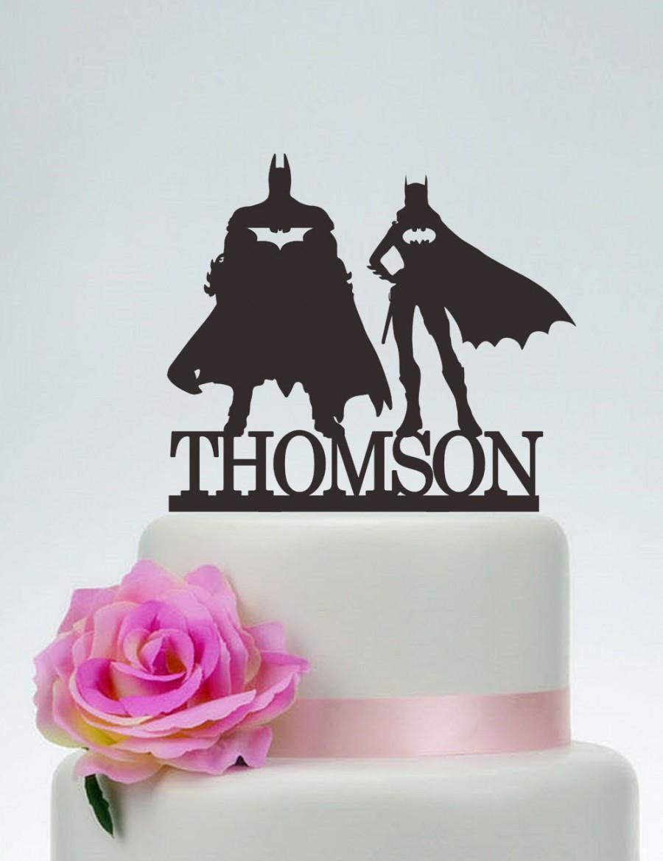 Wedding - Batman and Batgirl Cake Topper, Wedding Cake Topper,Personalized Cake Topper,Superhero Cake Topper,Custom Topper,Hero Wedding C140