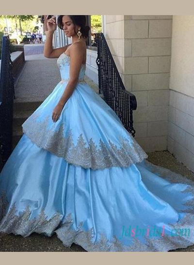 Baby Blue With Gold Lace Trim Layered Ball Gown Celebrity Prom Dress ...