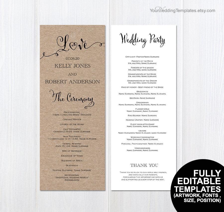 dekor printable wedding program 2596730 weddbook