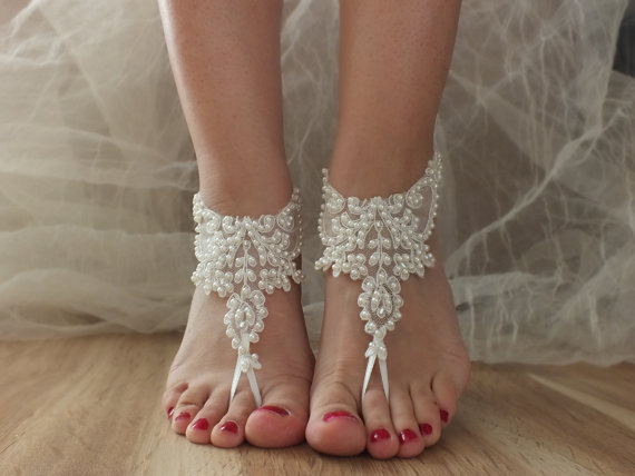 Mariage - Barefoot Sandals, ivory beach shoes, bridal sandals, wedding bridal, Insoles Accessories, Shoelaces wedding shoes, summer wear, lace sandals