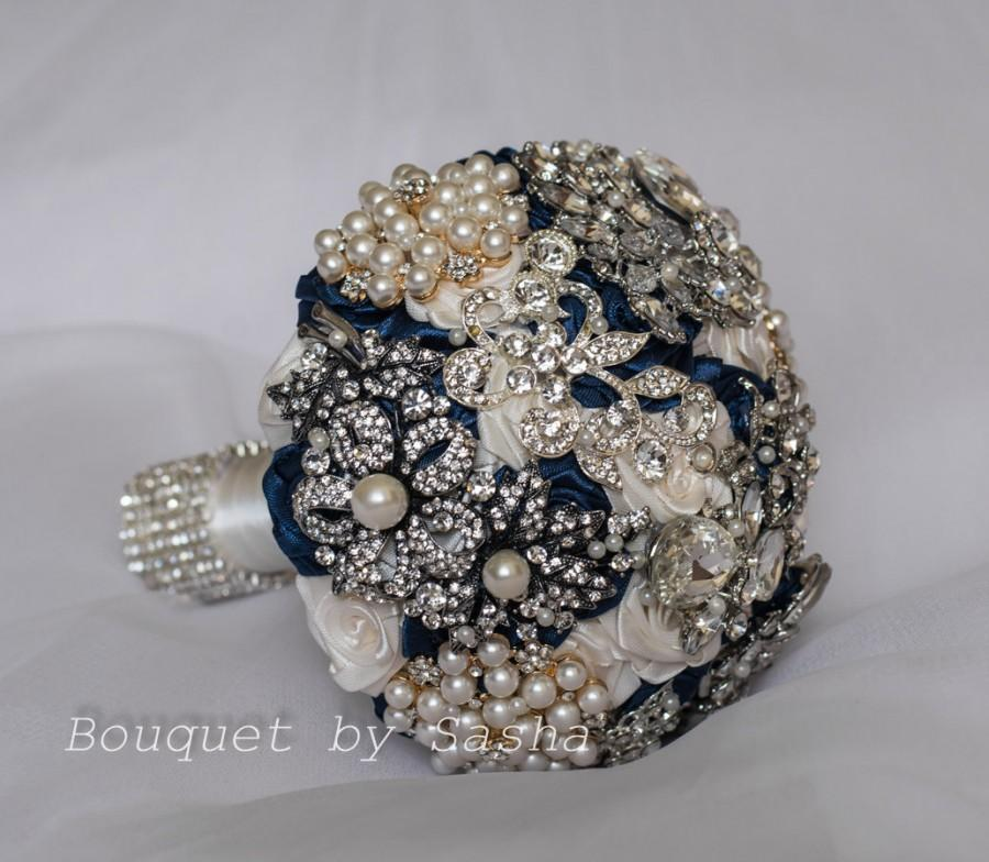 Ivory And Navy Blue Wedding Brooch Bouquet Silver Wedding Bridal