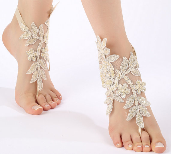 Свадьба - Free ship champagne ivory white Barefoot Sandals, french lace, shoes, Gothic, Wedding, beach wedding barefoot sandals