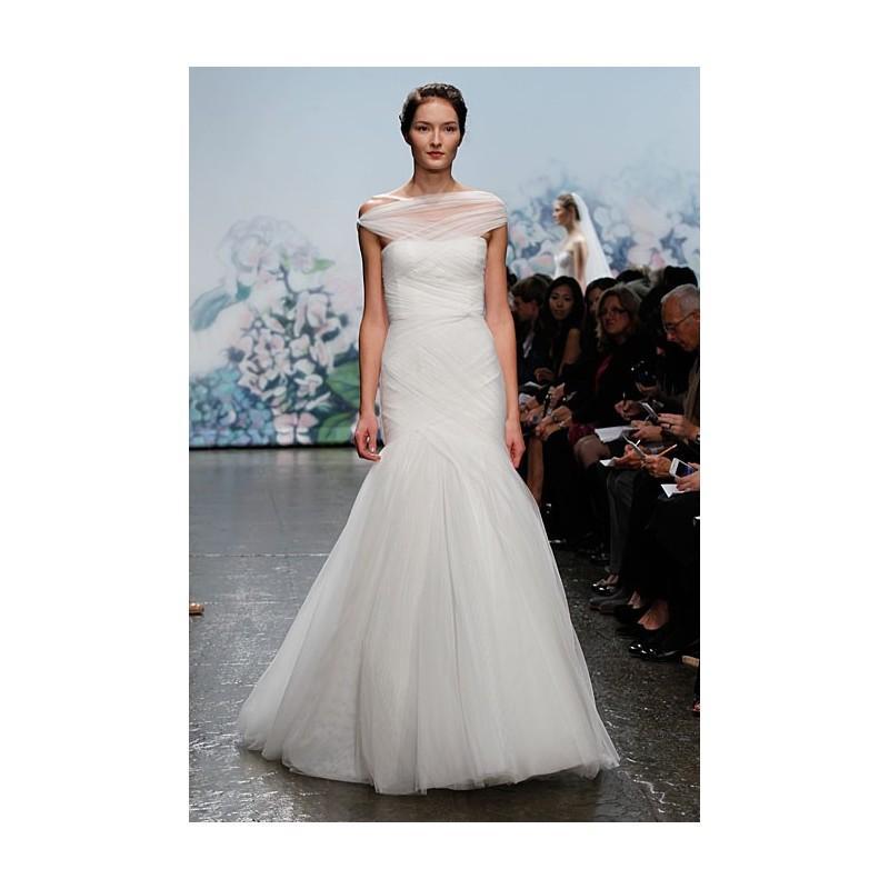 Wedding - Monique Lhuillier - Fall 2012 - Emotion Tulle Mermaid Wedding Dress with Layered Illusion Portrait Neckline - Stunning Cheap Wedding Dresses
