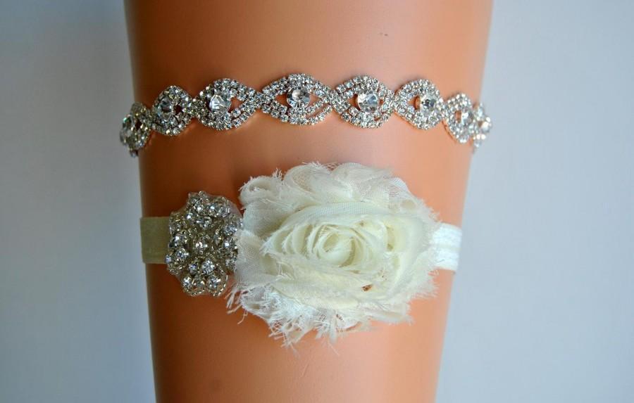 Свадьба - Crystal Bridal Garter Set, Wedding Garter Set Ivory, Ivory Shabby Chic Rhinestone Garter, Crystal Rhinestone Garter and Toss Garter Set
