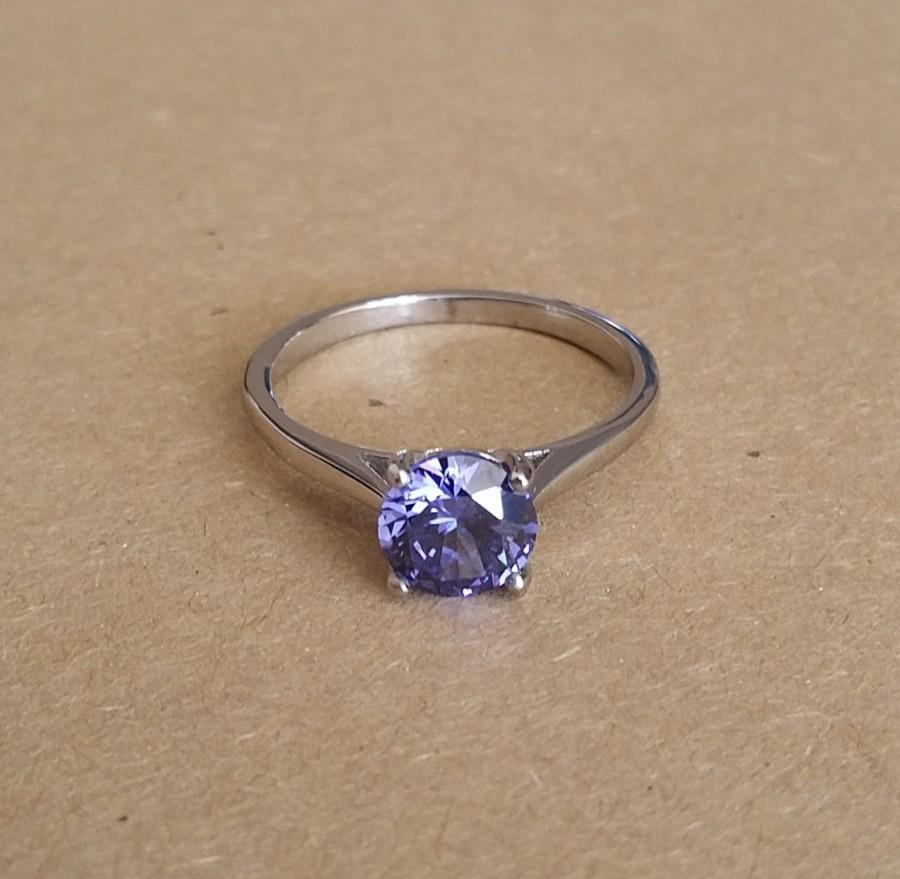 Wedding - 1.5ct lab tanzanite solitaire ring in Titanium or White Gold - engagement ring - wedding ring - handmade ring