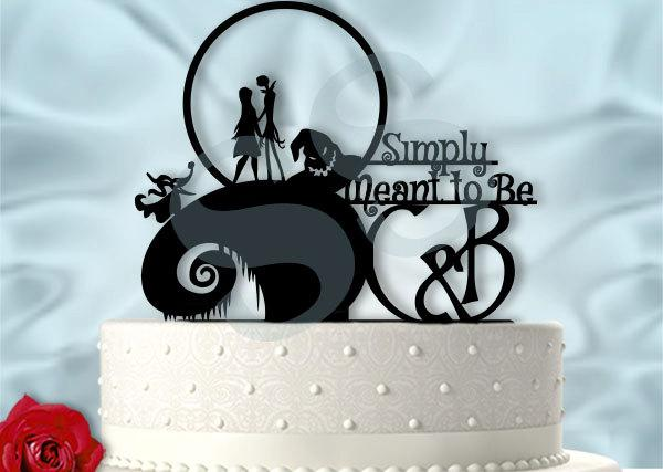 Wedding - Jack and Sally Simply Meant to Be with Initials Wedding Cake Topper