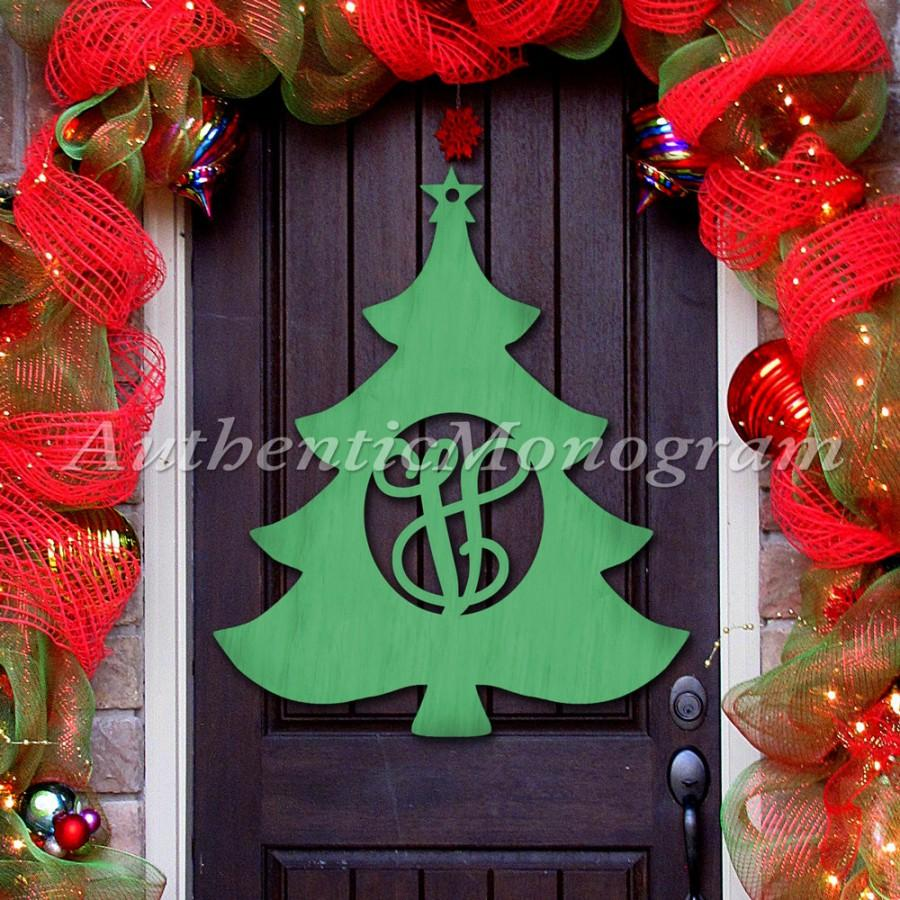 Wooden Christmas Tree Door Hanger   Cristmas Decorations  Wooden Monogram    Unpainted Or Painted Home Decor   Holiday Decor  X Mas