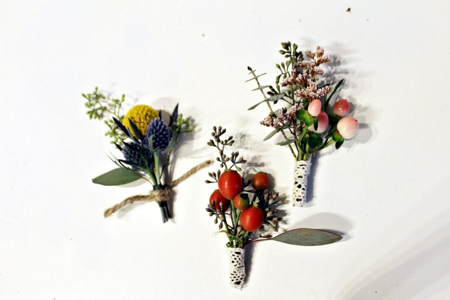 Свадьба - Boutonnieres boho wedding rustic, dried and fresh flowers natural