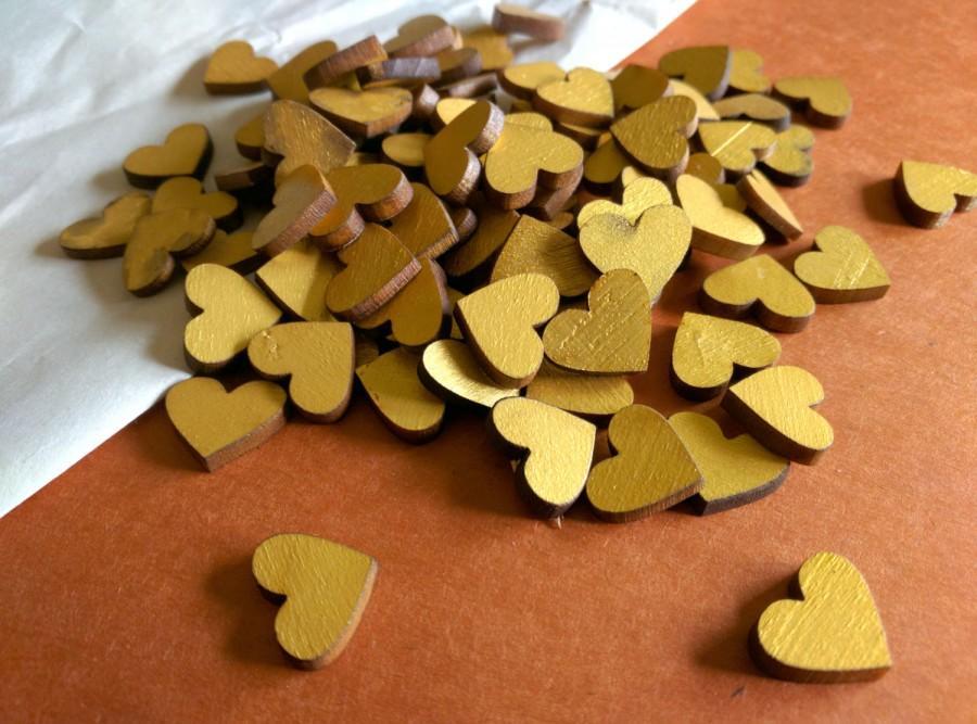 Свадьба - Wooden heart confetti, Gold heart confetti, Golden hearts, Table scatter, Wedding Decor