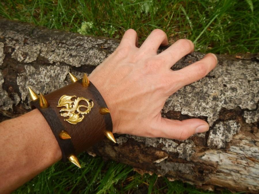 ff238f7adf1 Wide brown leather cuff Spiked dragon, leather bracelet, leather cuff, leather  cuff bracelet, leather bracelet with spikes