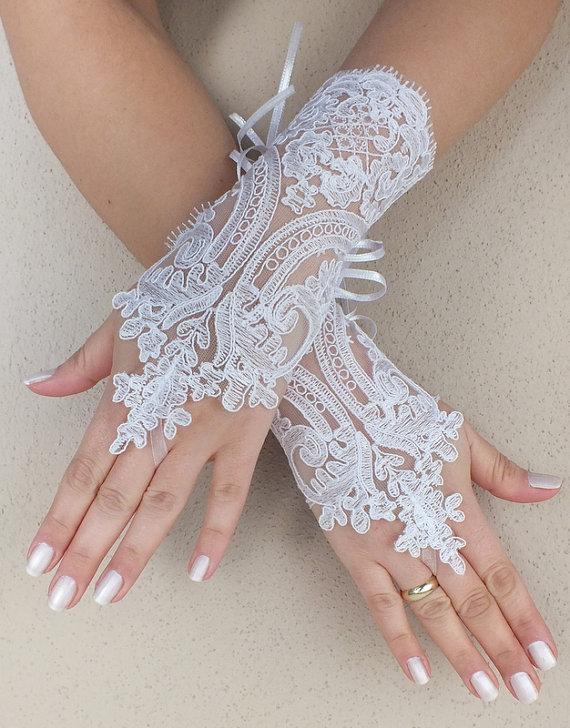 Free Ship White Black Wedding Gloves French Lace Bridal Fingerless Ivory