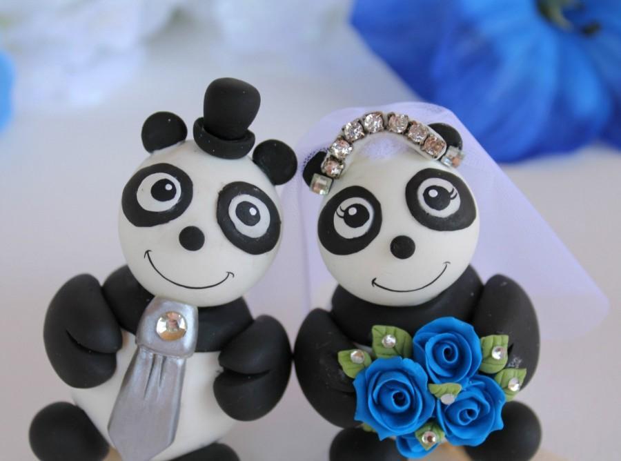 panda wedding cake topper something blue wedding bridal