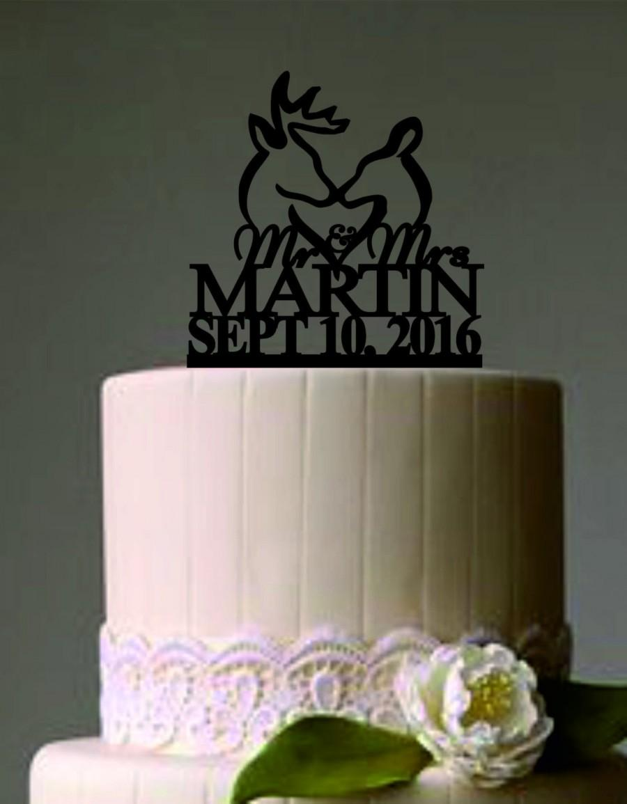 Country wedding cakes pictures - Deer Wedding Cake Topper Country Wedding Cake Topper Rustic Wedding Cake Topper Buck And Doe Wedding Cake Topper Personalized Cake Topper