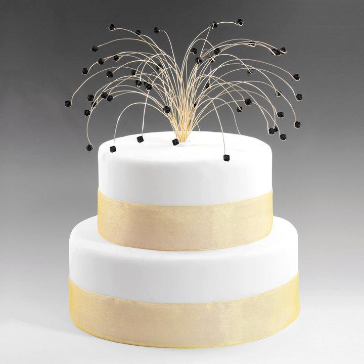 Hochzeit - Wedding Cake Topper in Jet Black and Gold Swarovski Crystal Elements Fireworks Spray Birthday Cake Topper Decor Decoration
