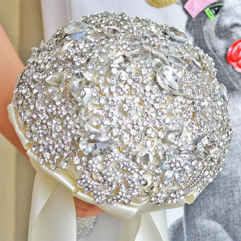 زفاف - Ivory Brooch Bouquet, Crystal Bouquets, Bridal Wedding Bouquets, Heirloom Bouquet