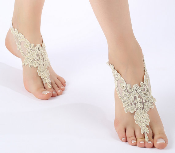 Mariage - Free ship champagne gold Barefoot Sandals, french lace, bridal shoes, Wedding, beach wedding barefoot sandals