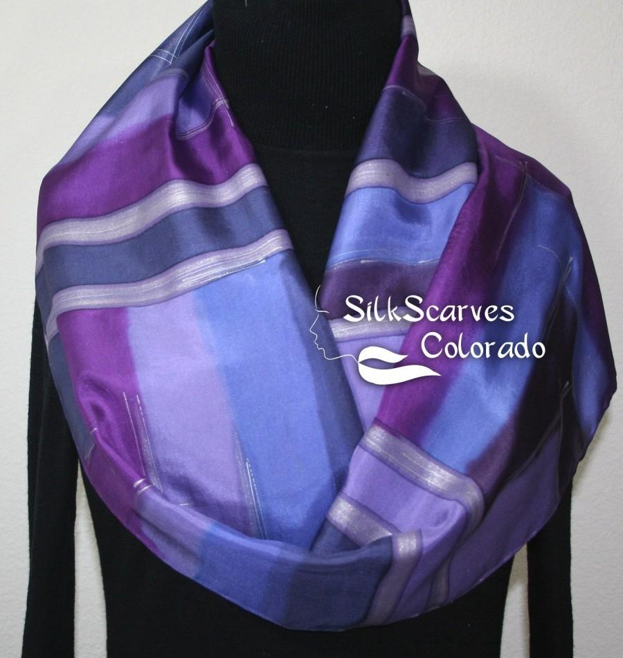 Hochzeit - Purple Hand Painted Silk Scarf. Purple & Lavender Handmade Scarf PURPLE VISION. Size 11x60. Silk Scarves Colorado. Hand Dyed Scarf 100% silk