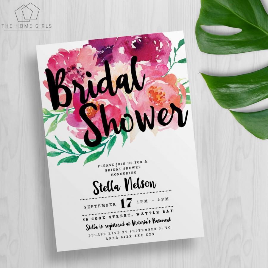 Свадьба - Printable Floral Bridal Shower Invitation / Kitchen Tea / Bachelorette / Wedding / Engagement / Baby Shower / Birthday / Party / Blush Pink
