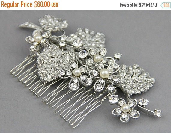 Mariage - Wedding Hair Accessories, Bridal Hair Comb, Wedding Hair Flower, Bridal Hair Flower, Hair Accessories, Antique Silver FlowerComb - Style 295