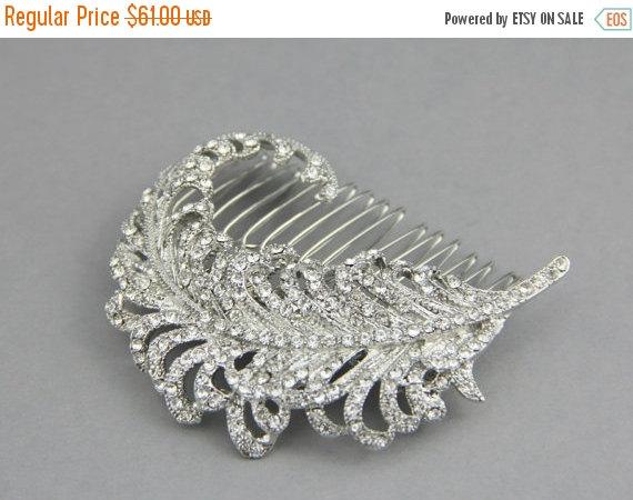 Mariage - Crystal Bridal Hair Leaf , Bridal Hair Comb, Crystal Leaf Comb , Bridal Crystal Hair Comb, Rhinestone Crystal Hair Piece, Bridal Hair Comb