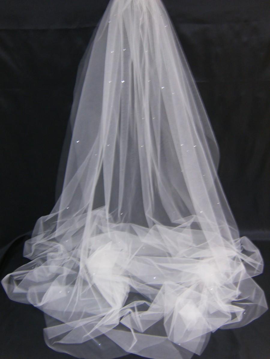 Bridal Veil Swarovski Crystal Rhinestone Sheer 80 Inch ...