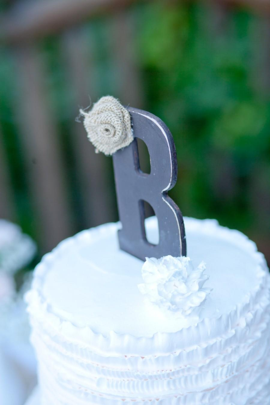 Mariage - Rustic cake topper Burlap wedding Monogram cake topper Rustic decor