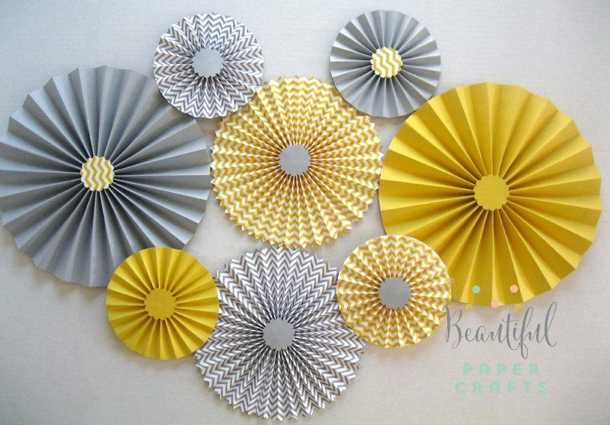 زفاف - Set of 8 Gray and Yellow Rosettes