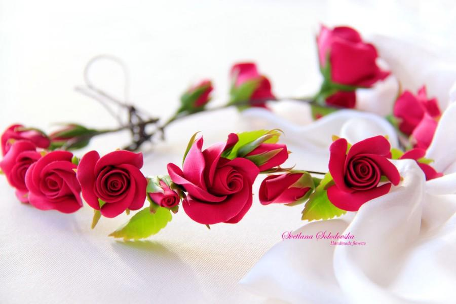 Bridal Flower Wreath For Hair : Wedding flower bridal hair accessory roses wreath