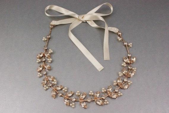 Свадьба - Rose Gold Bridal Hair Accessories Wedding Headband, Silk Swarovski Crystal Vine & Ivory Pearl Boho Wire Wrapped Halo, Camilla Christine ANIA