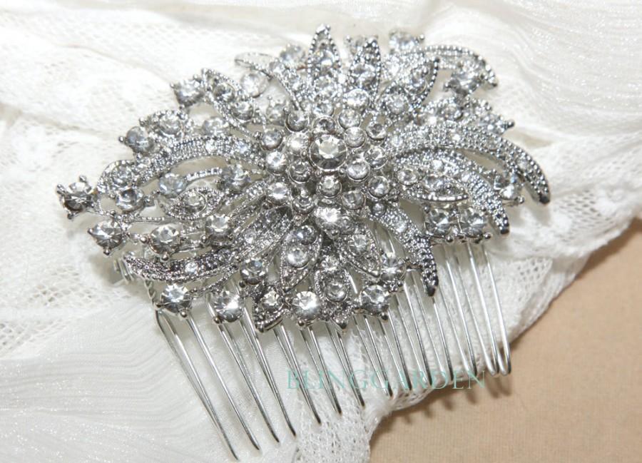 Hochzeit - Silver Vintage Style Rhombus Rhinestone Crystals Wedding Bridal Dress Hair Comb HIR00132