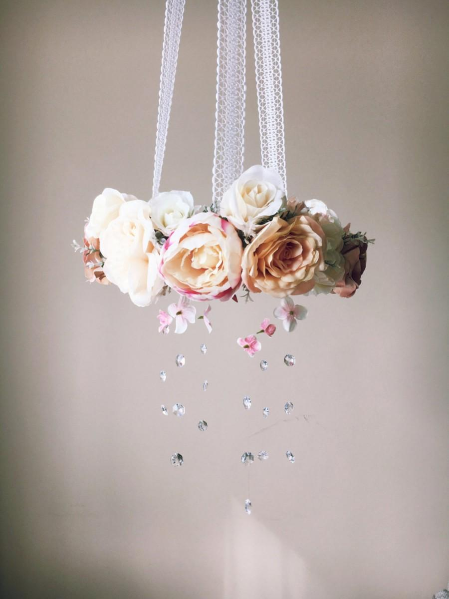 Baby mobile floral mobile flower mobile with swarovski crystals baby mobile floral mobile flower mobile with swarovski crystals crib mobile vintage inspired wedding chandelier arubaitofo Gallery