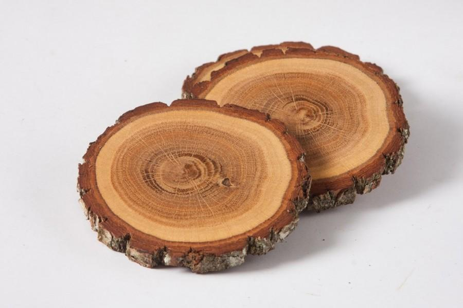 4 oak wood coasters 3 wooden slices rustic wedding for How to slice wood