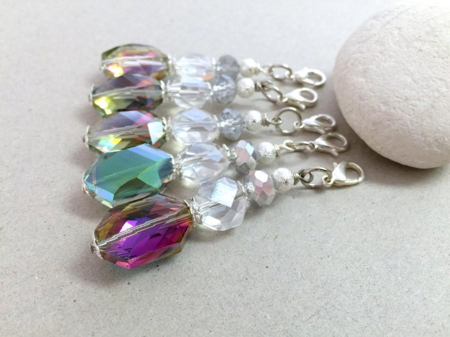 Mariage - Crystal Keychain, Small Keychain, Crystal Wedding Favors, Communion Favors, Party favors, Beaded key chain, Zipper pull,