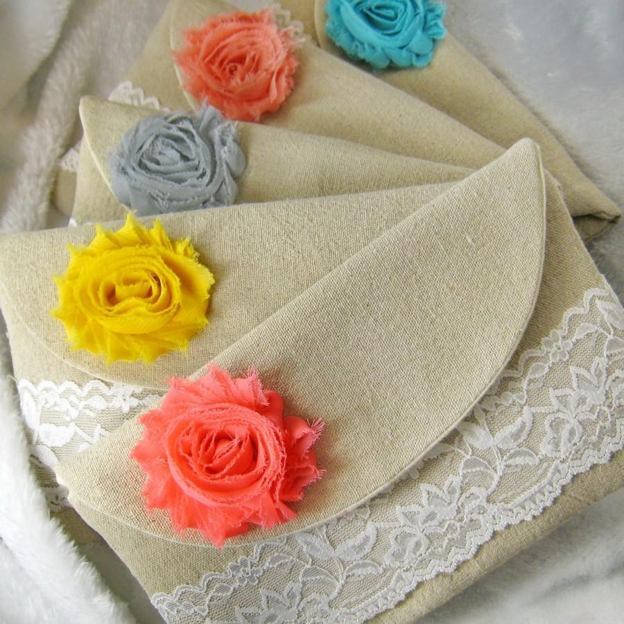 Mariage - Bridesmaid clutch, cotton linen lace clutch, wedding purse bag (Ref: CL888) CHOOSE your color