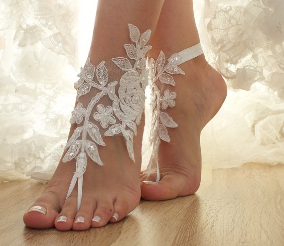 Mariage - Free Ship ivory, white champagne, flexible ankle sandals, laceBarefoot Sandals, french lace, Beach wedding barefoot sandals
