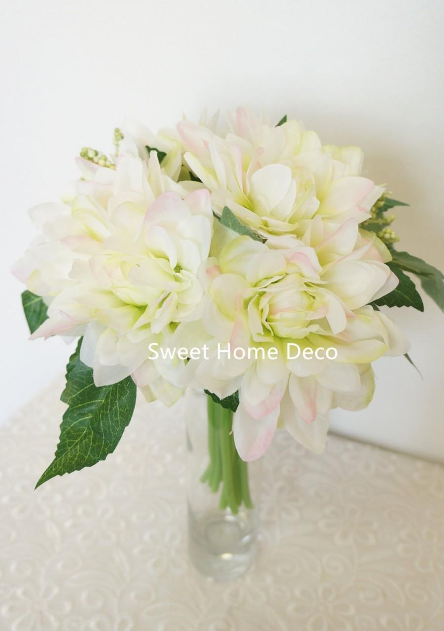 Hochzeit - JennysFlowerShop 9'' Silk Dahlia Artificial Flower Wedding Bouquet/ Home Decoration Flower, No Pot Included White/Pink