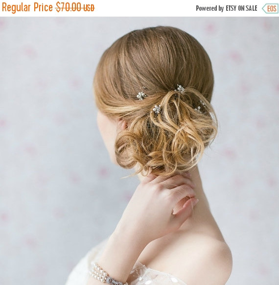 Свадьба - Wedding Hair Pins, Pearl Hair Pins , Bridal Ivory Hair Pins , Crystal Accented Floral Hair Pins , Set of 5 Hair Wedding Pins