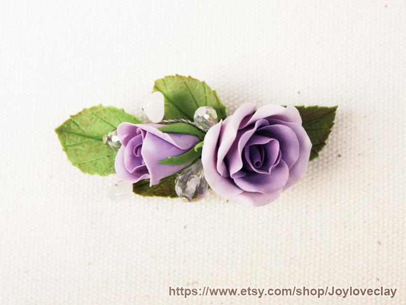 Boda - Barrette, hair clip, hair accessories ,handmade flowers , vintage style , polymer clay flower, handmade jewelry, gift for her