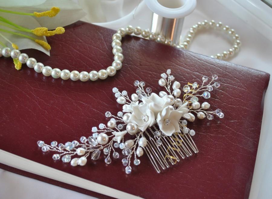 Свадьба - Wedding hair comb bridal hair comb wedding headpiece bridal headband pearl hair comb flower hair comb bridal hair piece hair accessories