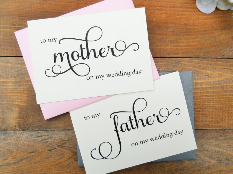 Mariage - TO My MOTHER Card, To My FATHER Card, Mother of the Bride Card, Father of the Bride Card, Mother of the Bride Gift, Father of the Bride Gift