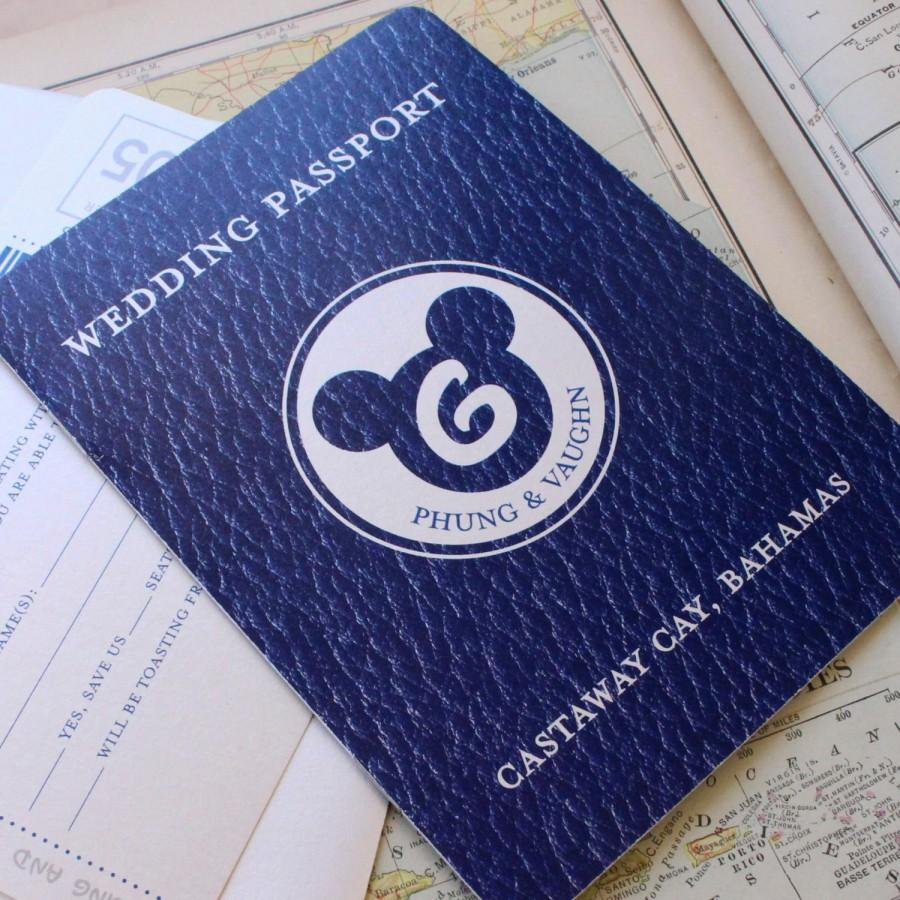 Mariage - Disney Cruise Passport Wedding Invitation (Navy and Silver) - Design Fee