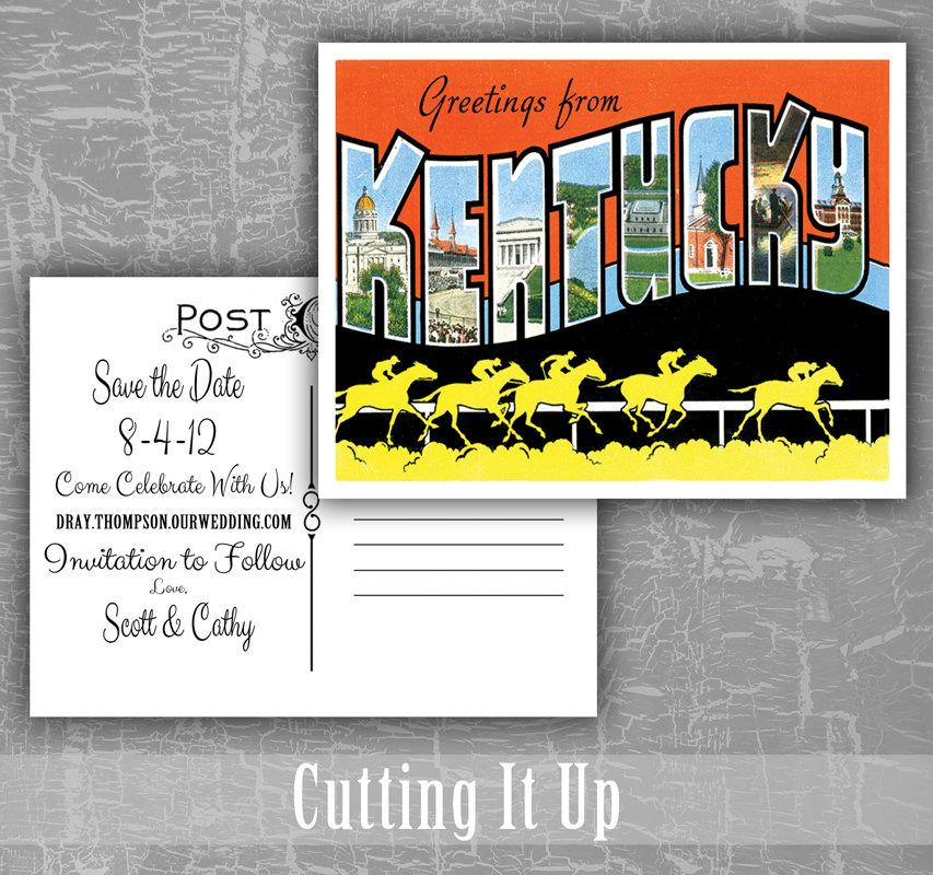 زفاف - Save The Date Postcard, Greetings From Kentucky, Louisiana, Maine, Maryland, Wedding Postcard, Vintage Postcard, Destination Wedding, Custom