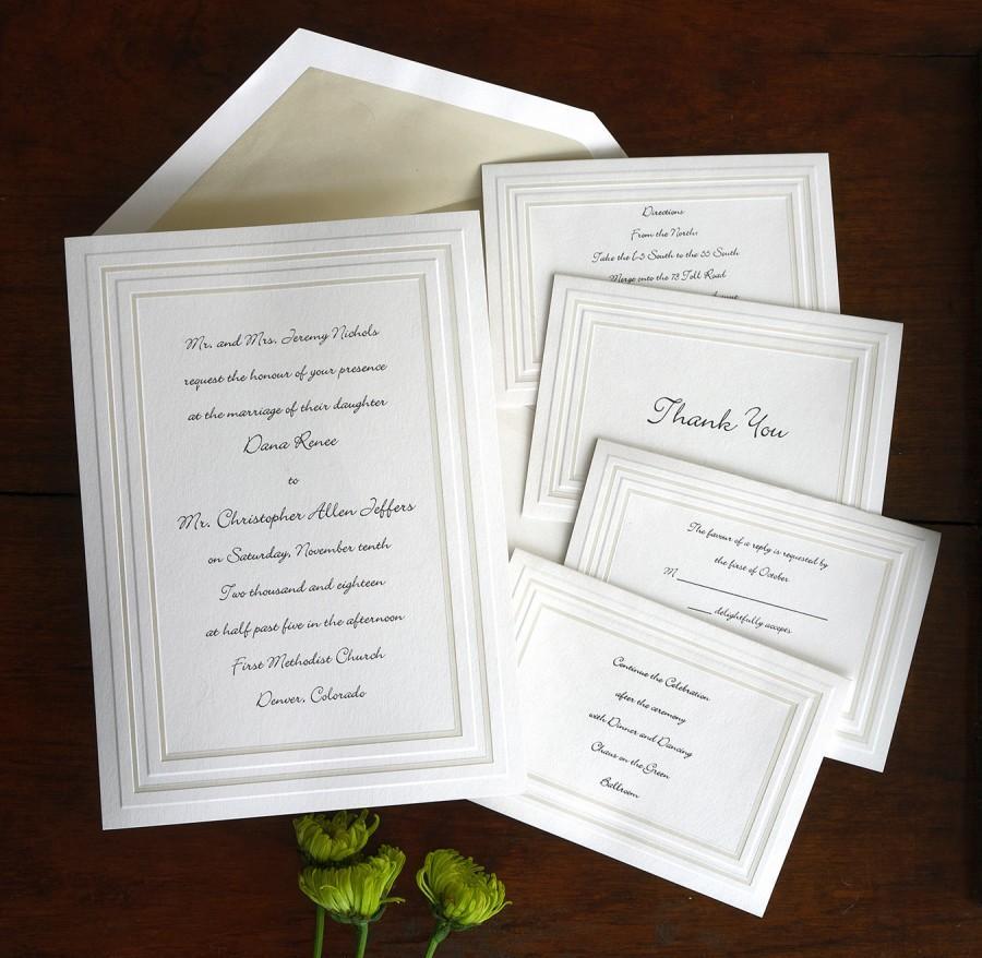 Beveled Frame Wedding Invitation Set - Thermography Wedding Invite ...