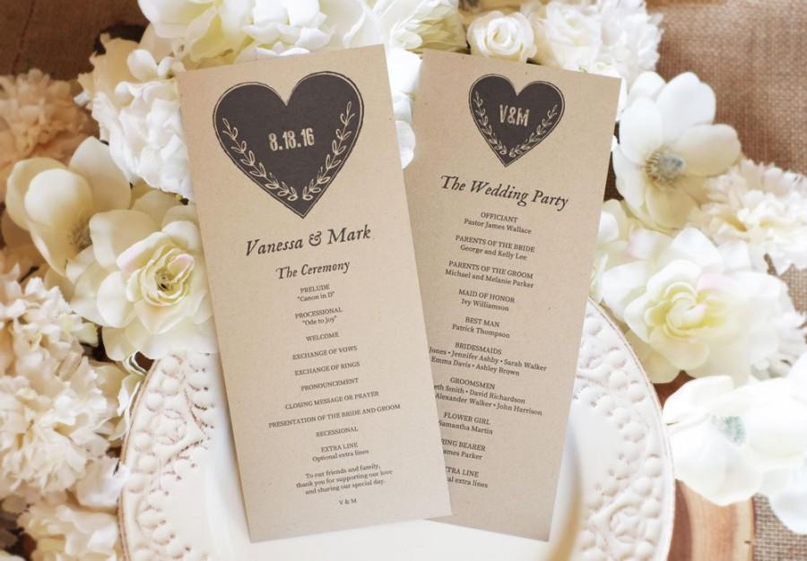 Mariage - Wedding Program Template, Kraft Paper Program, Printable Program, DOWNLOAD Instantly - Editable Text - Rustic Heart, 4 x 9.25 (Tea Length)